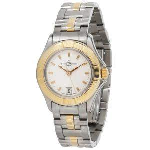 Baume & Mercier White 18K Yellow Gold And Stainless Steel Malibu MV045047 Women's Wristwatch 28 MM