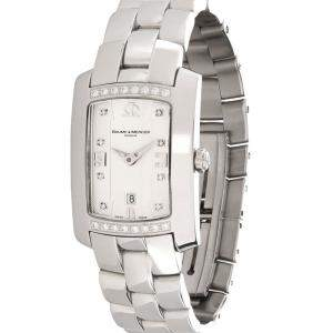 Baume & Mercier Silver Diamonds Stainless Steel Hampton Mille 65503 Women's Wristwatch 22 x 7 MM