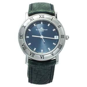 Baume & Mercier Blue Stainless Steel Leather MV045104 Women's Wristwatch 33 MM
