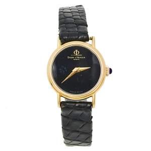 Baume & Mercier Black Gold-Plated Women's Wristwatch 21 mm