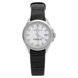 ساعة يد نسائية برنارد اتش. ماير فورس كونتم 41601.623.1  ستانلس ستيل وجلد بيضاء 35 مم