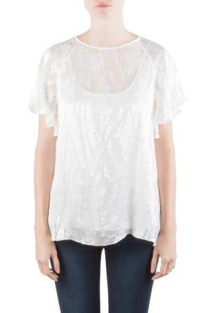 Blumarine White Silk Blend Raglan Sleeve Burnout Blouse M