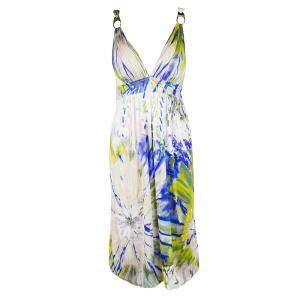 Blumarine Multicolour Embellished Sleeveless Silk Dress M