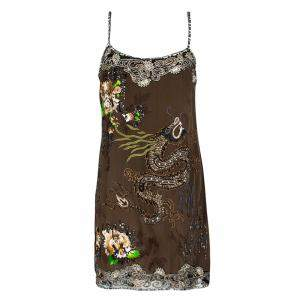 Blumarine Brown Dragon Embroidered Embellished Sleeveless Silk Tunic M