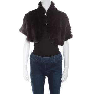 Blumarine Brown Rabbit Fur Open Front Shrug S