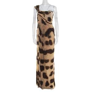 Blumarine Brown Animal Printed Embellished Ruched One Shoulder Dress M