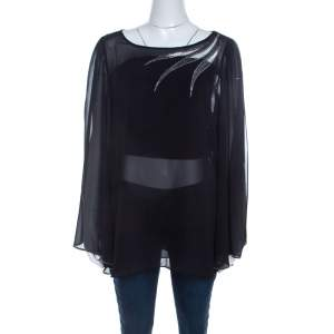 Blumarine Sheer Black Crepe Beaded Trim Cape Sleeve Blouse L