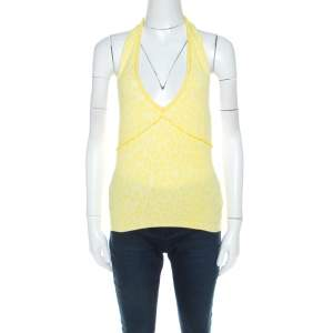 Blumarine Yellow Animal Patterned Jacquard Bead Embellished Backless Halter Top M