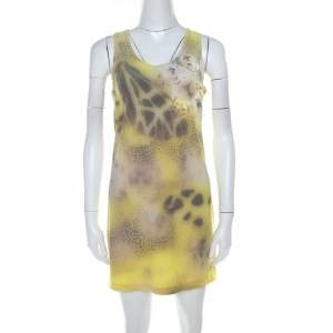 Blumarine Yellow Printed Applique Detail Short Dress S