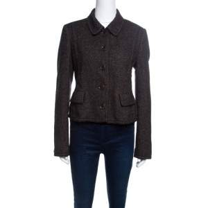 Boss By Hugo Boss Brown Textured Cropped Blazer M
