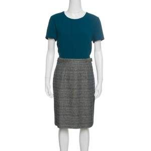 Boss By Hugo Boss Teal Textured Belted Divenice Dress M