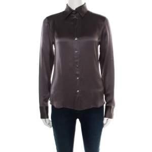Boss By Hugo Boss Grey Silk Satin Long Sleeve Button Front Shirt S