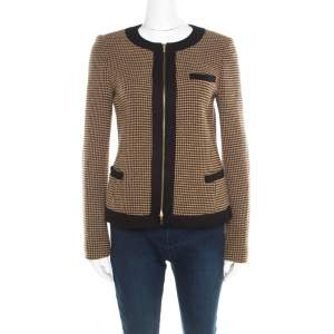 Boss By Hugo Boss Black and Brown Textured Zip Front Jacket S