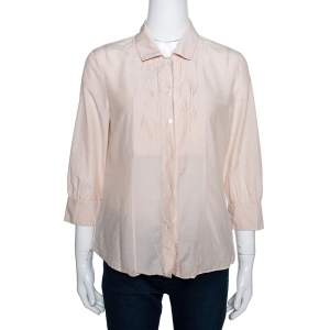 Boss By Hugo Boss Beige Cotton Silk Pleat Front Blouse M