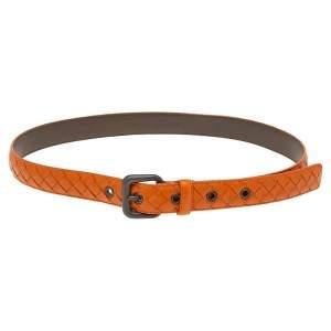 Bottega Veneta Orange Intrecciato Leather Belt 80CM