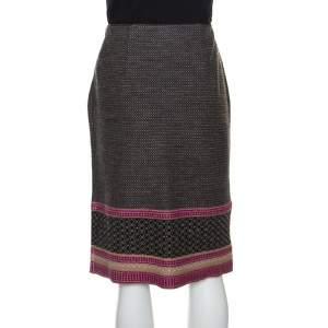 Bottega Veneta Multicolor Patterned Wool Knit Pencil Skirt S