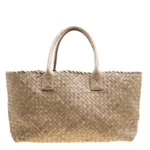 Bottega Veneta Stone Ostrich Intrecciato Leather Medium Limited Edition Cabat Tote