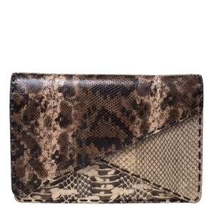 Bottega Veneta Brown Karung Snake Envelope Clutch