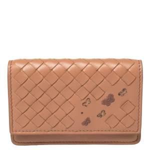 Bottega Veneta Peach Intrecciato Leather Flap Card Holder