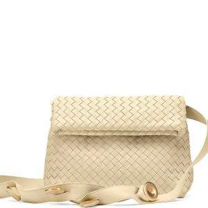 Bottega Veneta Beige Intrecciato Leather The Fold Bag