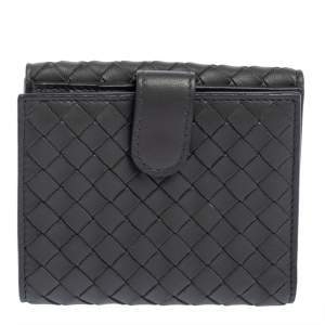 Bottega Veneta Grey Intrecciato Leather Compact Wallet