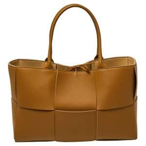 Bottega Veneta Mustard Maxi Intrecciato Leather Arco Tote