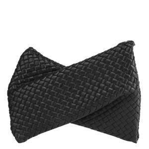 Bottega Veneta Black Leather Criss Cross Clutch