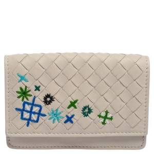 Bottega Veneta Off White Intrecciato Leather Embroidered Business Card Holder