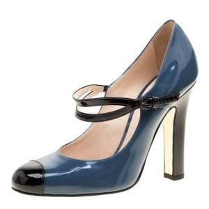 حذاء كعب عالي بوتيغا فينيتا ماري جين غطاء مقدمة بت جلد لامع رمادي صخري مقاس 36.5