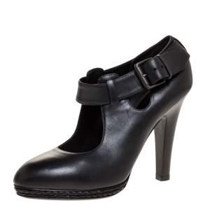 حذاء كعب عالي بوتيغا فينيتا نعل سميك جلد أسود مجدول مقاس 38