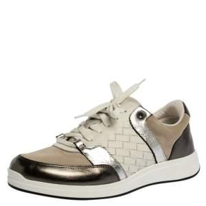 Bottega Veneta Metallic Grey/White Intrecciato Leather and Suede Top Sneakers Size 37.5