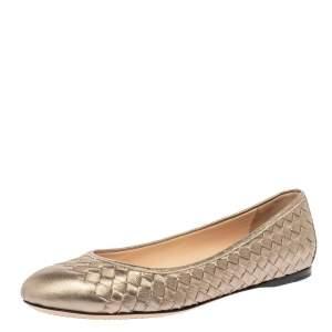 Bottega Veneta Metallic Gold Intrecciato Leather Ballet Flats Size 40