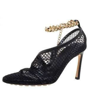 Bottega Veneta Black Mesh And Leather Trims Chain Embellished Ankle Cuff Pumps Size 36