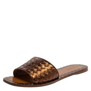 Bottega Veneta Brown Metallic Intrecciato Leather Flat Slides Size 39