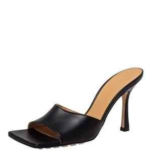 Bottega Veneta Black Leather Square Toe Stretch Sandals Size 36.5