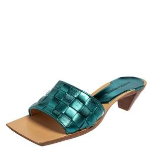 Bottega Veneta Metallic Blue Intrecciato Slide Sandals Size 37.5