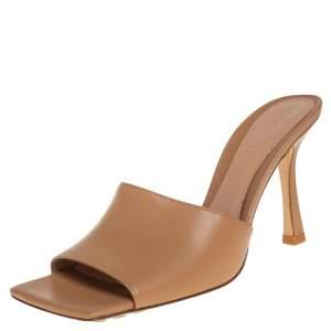 Bottega Veneta Tan Leather Square Toe Stretch Sandals Size 37