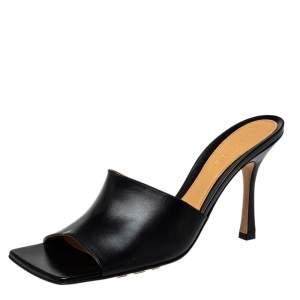 Bottega Veneta Black Leather Slide Sandals Size 40