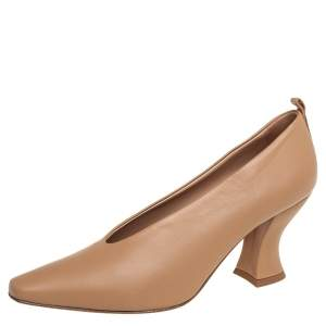 Bottega Veneta Beige Leather Block Heel Pumps Size 38.5