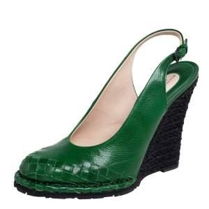 Bottega Veneta Green Intrecciato Slingback Wedge Pumps Size 41