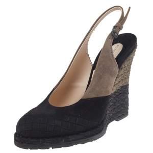 Bottega Veneta Black/Brown Intrecciato Suede Espadrille Wedge Slingback Sandals Size 37