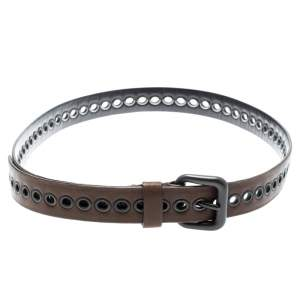 Bottega Veneta Brown Ring Hole Leather Belt 85CM