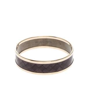 Bottega Veneta Purple Enamel Gold Tone Bangle Bracelet S