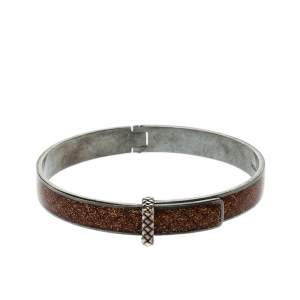 Bottega Veneta Intrecciato Brown Glitter Oxidized Silver Narrow Bracelet M