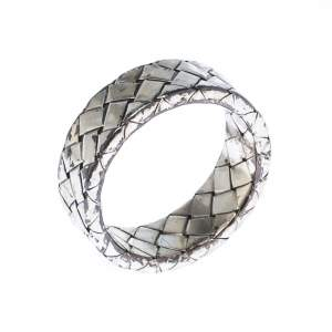 Bottega Veneta Intrecciato Woven Silver Band Ring Size 56