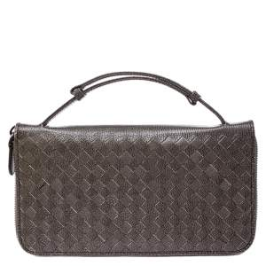 Bottega Veneta Pale Green Intreciatto Leather Zippy Travel Organizer