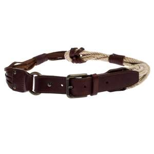 Bottega Veneta Brown/Beige Leather and Rope Knot Buckle Belt 85CM