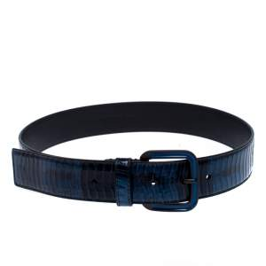 Bottega Veneta Blue/Black Python Buckle Belt 75CM