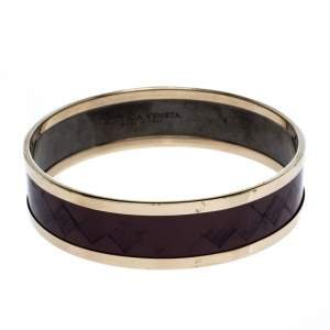 Bottega Veneta Mauve Purple Enamel Gold Plated Bangle Bracelet S