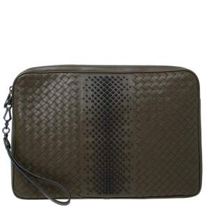Bottega Veneta Olive Green Intrecciato Leather Laptop Case
